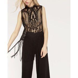 Zara Black Sleeveless Lace Top W/ Fringe Detail